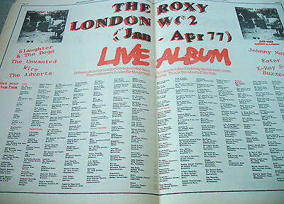 The Roxy Live 1977 Double Page Advert..the Kick Start Of Punk Jan-Apr London Wc2