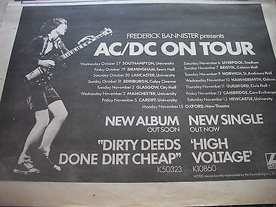 "AC/DC  ""DIRTY DEEDS"" 1977 half page A3  ADVERT  WITH TOUR DATES AND VENUES"