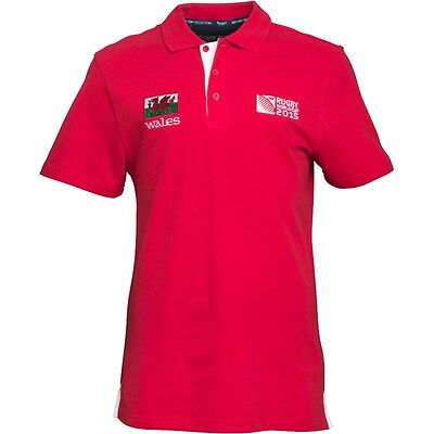 Wales Rugby Polo Shirt  Welsh Dragon Flag  Rugby World Cup 2015 Size M  Bnwt