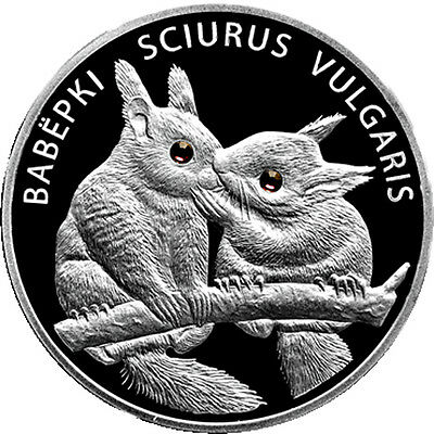 Belarus 2009 20 rubles Squirrels Proof Silver Coin