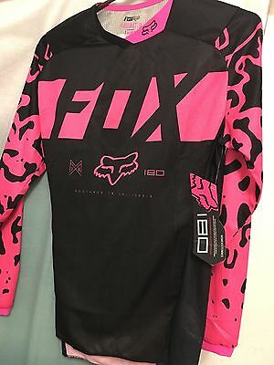 New Fox Black & Pink Women's 180 Race Jersey -  X-S Sm Med Lg Xlg  14980-285