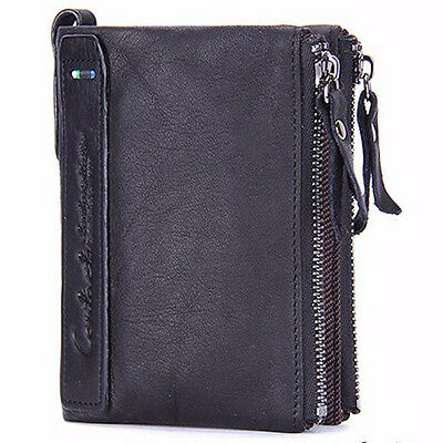 Men Bifold Genuine Leather Credit Card Holder Zipper Coin Wallet Purse Billfold