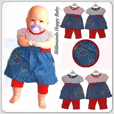 Babykleid Leggings Set Kleid Sommerkleid Jeanskleid 56 52 68 Tunika NEU
