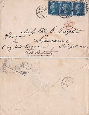 G.B. 1877 Cover from London 2d Blue x 3 and sent to Switzerland.