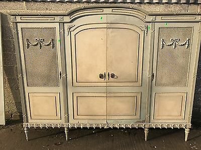 Rare, French, Antique, Vintage Original Paint Armoire, 4 Door, Suite, Rattan