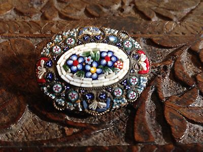 Antique Victorian Fine Micro Mosaic Oval Large Brooch