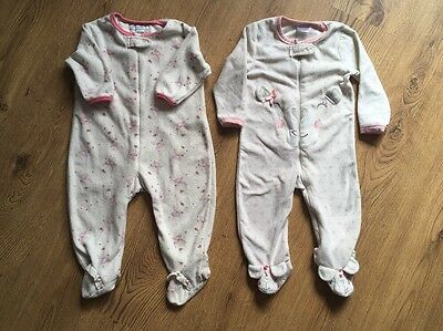 2x fluffy baby sleepsuits 6-12 months
