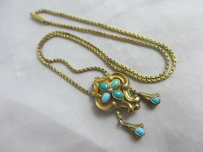 Turquoise 15k 15ct gold locket pendant necklace antique Victorian. tbj02192