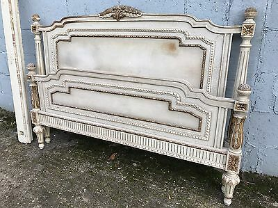 Rare, French, Antique, Vintage Original Painted King/queen Size Bed, 160x200cm