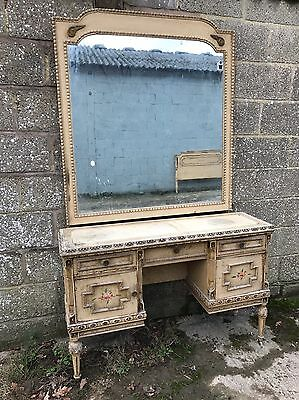 Antique, French, Vintage Dressing Table, Original Paint, Large Mirror