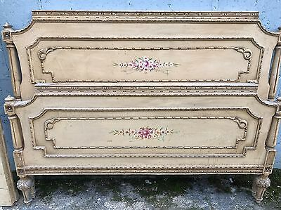 Rare, French, Antique, Vintage Original Painted King/queen Size Bed, 150x200cm