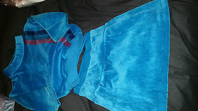 Lovely Girls Vintage Retro 2 Piece Velour Suit Skirt And Top Age 3-4 Years M &s