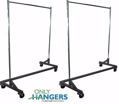 Only Hangers Heavy Duty Commercial Rolling Z Rack Black Base (SET OF 2)