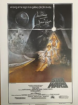 Signed Star Wars Darth Vadar Poster-signed In Silver