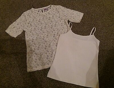 girls cream 2 piece lace top and vest top age 10-11