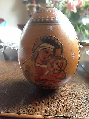 Antique Russian Collectable Religious Icon Beautiful Wooden Egg