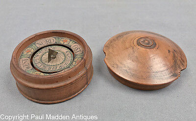 Antique German Portable Sundial Compass in Fruitwood Box