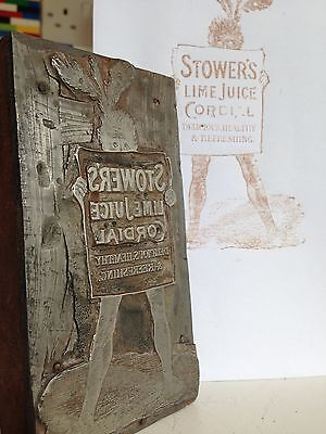 Vintage Brass/Wooden Shop Advertising Print Stamp Stower's Lime Juice Cordial
