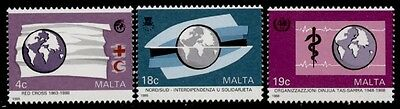 Malta 720-2 MNH Red Cross, Red Crescent, WHO, Map, Globe