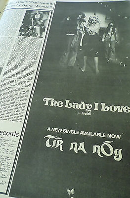 "Tir Na Nog 1972 Chrysalis Advert ""the Lady I Love"" 1/2 Page"