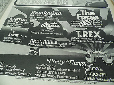 """The Faces 1972 """"sold Out"""" Advert For The Sundown Club + Hawkwind+ T.rex+ Quo"""