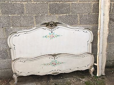 Rare, French, Antique, Vintage Original Painted King/queen Size Bed, 170x200cm