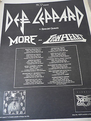 "Def Leppard ""high N Dry"" Tour Advert From 1981 Full Page A3"