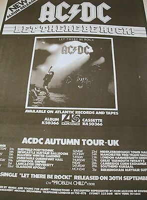 "Ac/dc ""let There Be Rock"" Album & Autumn Tour Dates Advert From 1977"