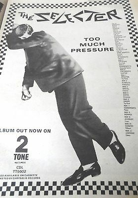"""THE SELECTER """"TO MUCH PRESSURE"""" ALBUM & TOUR DATES ADVERT 1980 2 tone  FULL PAGE"""