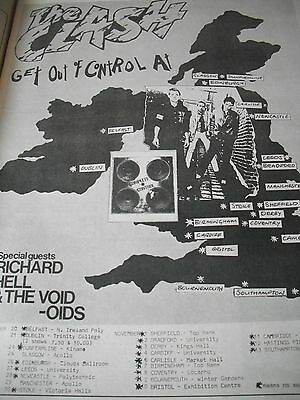 "The Clash 1977 ""get Out Of Control"" Album And Tour Advert A3"