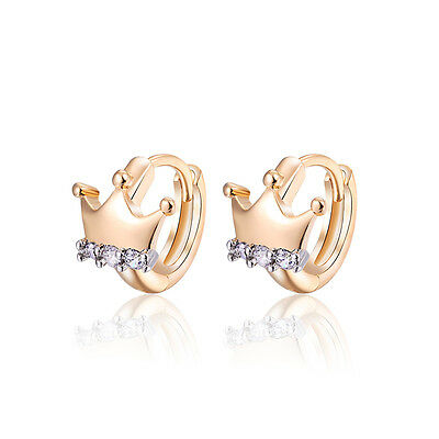 18 k Gold Plated Baby Girl Christening Crown Hoops First Earrings E1203