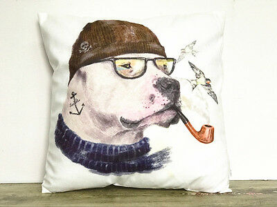 1x Simple painting Puppy smoking Home Decor sofa Cushion Covers Pillow Case 18'
