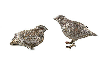 Pair Asprey & Co Ltd London Gilt Sterling Silver Chick Bird Table Ornaments 1988