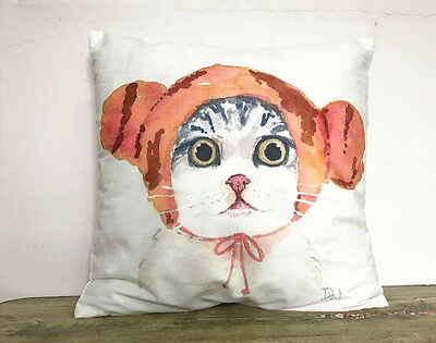 1x Simple painting Cartoon kitten Home Decor sofa Cushion Covers Pillow Case 18'