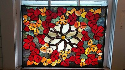 Vintage Stained Glass Slag Glass Handmade Hanging Window Panel Red, gold.