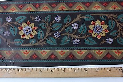 """Rare 18thC French """"Domino"""" Border Paper Block Printed-Hand Painted-Stenciled"""