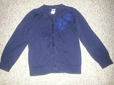 OSH KOSH Navy Blue Floral Accent Cardigan Sweater Girls Size 5
