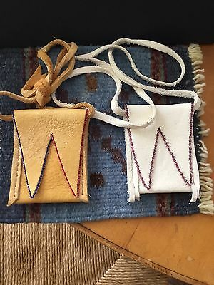 Two Native American Deerskin ? Flap Pouch Bags Excellent