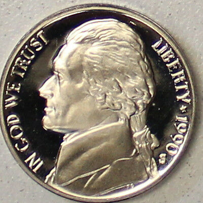 1990 S Jefferson Nickel Gem Deep Cameo Proof Coin