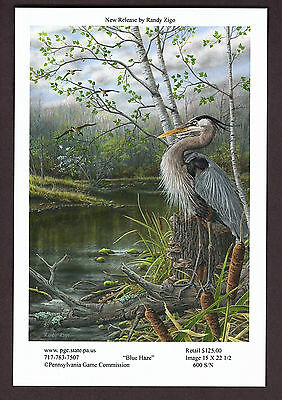 Pa Pennsylvania Game Commission WTFW 2016 Heron Lithograph Print Card