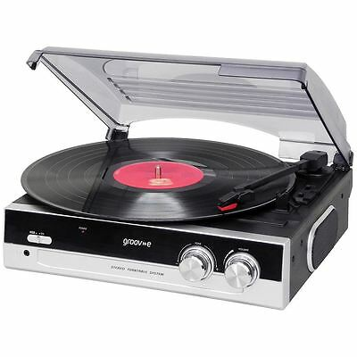 Groove Vintage Vinyl Turntable Record Player With Built In Speakers Black