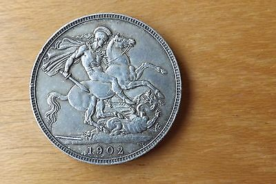 British Edwardian Sterling Silver Crown Coin 1902 Very Fine Grade Scarce.....