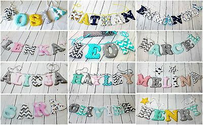 Fabric Letter Name World Banner Garland Bunting Personalised Nursery Wall Decor