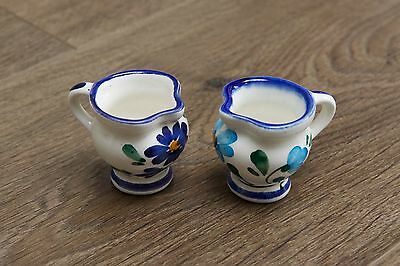 Pair of Miniature Hand Painted Ceramic Decorated Jugs - Floral Pattern