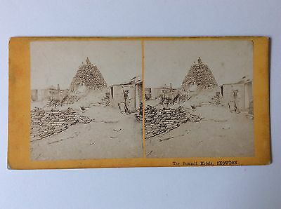 vintage stereo view, Snowdon, The summit hotels, early real photo
