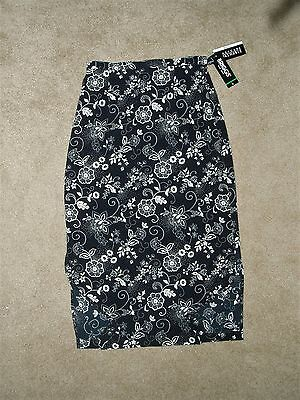 BRIGGS SKIRT black floral-- POLYESTER--WASHABLE--NWT---unlined--size LARGE