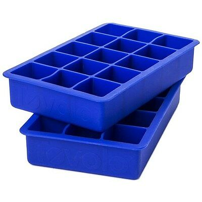 New Tovolo Perfect Cube Ice Tray Blue Set of 2