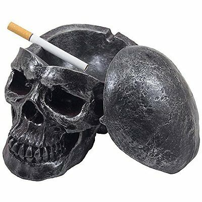 Spooky Human Skull Ashtray with Cover for Scary Halloween Decorations and