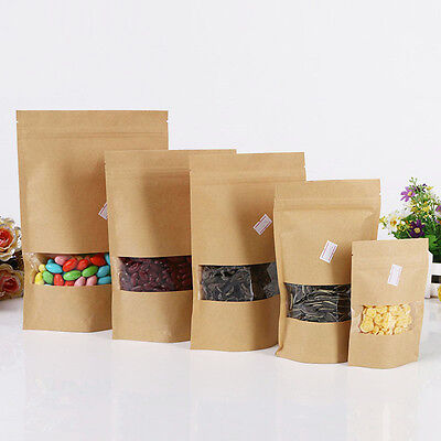20x kraft paper food bags with Window Self Sealing Envelope Shopping Gifts Bag