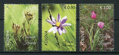 Kosovo 2017 MNH Endemic Plants 3v Set Tulips Asters Flowers Stamps